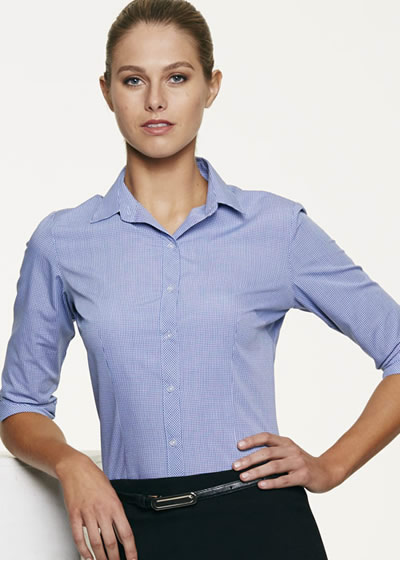 2901T LADIES TOORAK CHECK 3/4 SLEEVE SHIRT