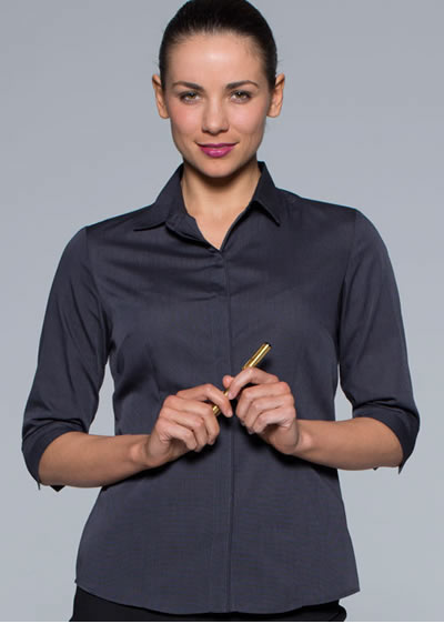 2902T LADIES GRANGE CHECK 3/4 SLEEVE SHIRT